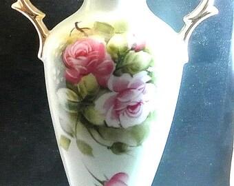 July 4th Sale Lefton China Heritage Green Pink Flowers Vase Vintage Handpainted Light Green Vase Gilded Handles Signed 4072 On Bottom