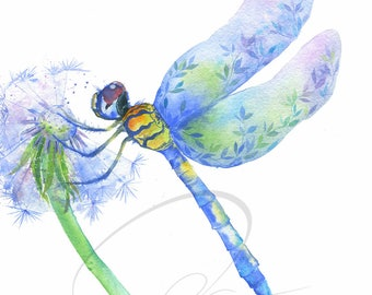 Dragonfly - Watercolor Art Giclee Print Flower Spring Cute Pretty Beautiful Available in Paper and Canvas by Olga Cuttell