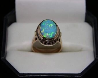 Reserved Layaway for Bridget 14K Rose Gold Vintage Firey Opal Doublet and Garnet Ring Size 7 Genuine Opal Genuine Garnet MoonMagicTreasures