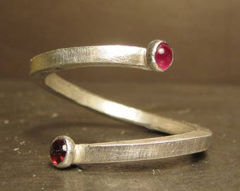 Red Ruby and Garnet You and I Ring - you and me love ring, love token, anniversary present