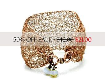 Cuff Bracelet, Bracelet Cuff, Copper Tone Bracelet Cuff, Wire Crochet Cuff, Wire Crochet Jewelry, Boho Style, Artisan Made by DurangoRose