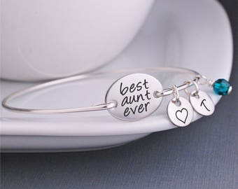 Best Aunt Ever Jewelry, Personalized Christmas Gift for Aunt, Silver Bangle Bracelet with Initials, Birthday Gift from niece and nephew