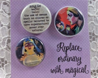 Fortune Teller Pins-Mystical Pins- Crystal Ball Pins-Magic Pins- Crystal Ball Buttons- Gypsy Pins-Definition of Magic pins