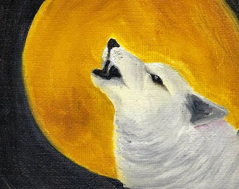 5x7 Original Oil Howling At The Moon