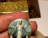 Flash Sale Vintage 1960s Virgin Mary Religious Blue Art Nouveau Pin Back Badge Brooch Pinback