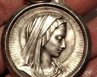 Flash Sale Huge Over Sized French France Oversized Heavy Virgin Mary Our Lady of Lourdes Signed Religious Medal Pendant Silver Plated