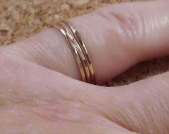 Delicate Thin Ring, Stacking Rings, 14K Gold Filled Ring, Set of 3, Hammered