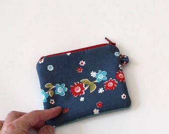 Vintage bag, Minimalist pocket wallet, Change purse, mini zipper pouch, earbud case, gift card holder, chapstick, credit card wallet