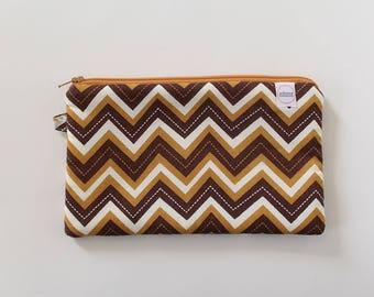 zipper pouch, cash envelope, Eyeglass case, Pen pencil, cash wallet, Cosmetic makeup case, Brown bag, sunglasses case, Chevron purse, rust