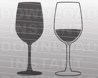 Wine SVG File,Wine glass SVG,Wedding SVG-Cutting Template-Vector Clip Art for Commercial & Personal Use Cricut,Cameo,Explore,Silhouette