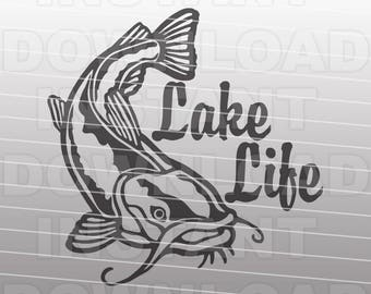 Fishing SVG File,Lake Life Catfish SVG File -Vector Clipart for Commercial & Personal Use- SVG For Cricut,Silhouette Cameo,Vinyl Cut File