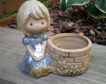 Vintage Kawaii Girl Retro 70s Kitsch Trinket / Ring Holder Storage Container Tiny Candle Holder Gift - Holly Hobbie Style Dish Made in Japan