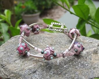 Pink lampwork bracelet- Sterling silver lampwork bracelet- Summery- Lisa New Design