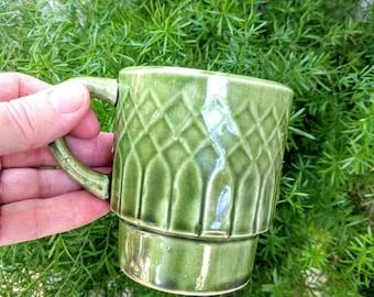 Retro Diamond Glazed Mug || Vintage Green Cup || Unique Planter