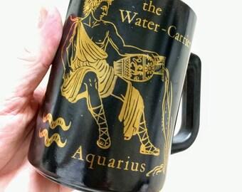 Vintage Aquarius Mug / Zodiac Sign mug