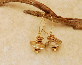 Gold Lampwork Earrings Glass Disc Earring Dangling Lampwork Gold Lampwork Jewelry Gold Glass Discs Bronze Spacers Matching Earrings Necklace