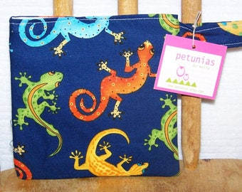 Reusable Little Snack Bag - pouch adults kids lizards eco friendly by PETUNIAS