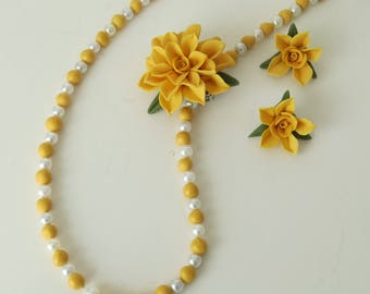 Beaded Necklace, Pin and Earring Set, Gold Colored,Floral,Handmade,Cold Porcelain,Gift for Her