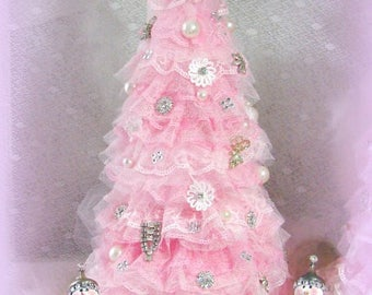 Pink Ruffled Rhinestone and Pearl Embellished Lace Christmas Tree with Elf, Shabby, Paris Chic, Cottage, Romantic, Pink Christmas Tree