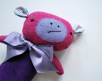 Monkey Plushie in Purple Velveteen and Magenta Wool Tweed - Plush Stuffed Animal - Upcycled - Rustic - Cuddly - Recycled - Sweet