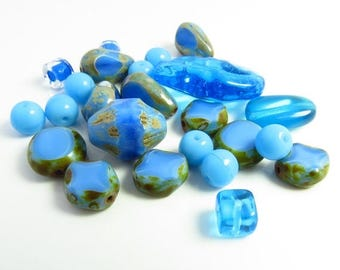 Summer Sale Firepolished Mixed Beads in Ocean Blue Shades Mix  - 24 Beads - B-MIX-6402