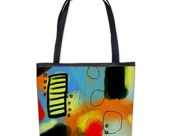 Original Abstract Art Shoulder Bag Handbag Purse My Funky Abstract Digital Painting