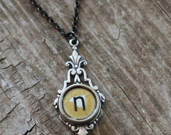 Personalized Initial Necklace, Letter N, Vintage Typewriter Key Jewelry