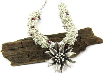 Silver Beaded Necklace, Fine Silver, Poinsettia
