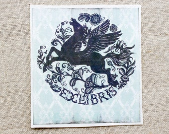 pegasus bookplates - folk art book plate stickers - book labels - mythology bookplates - book plates - gifts under 20 - gift for book lovers