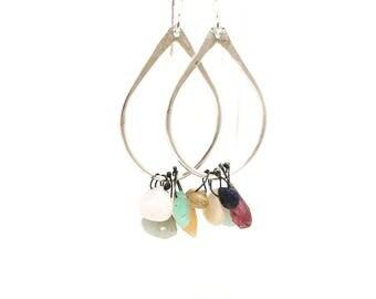 Multi stone earrings drop earrings dangle earrings swing earrings sterling silver earrings