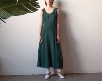 forest green silky market dress / summer maxi dress / simple colorblock long dress / s / m / l / 2258d