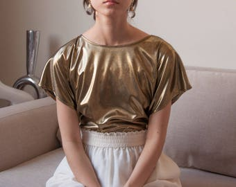 liquid metal metallic blouse / gold blouse / minimalist top / s / m / 2634t / B18