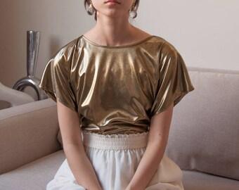 liquid metal metallic blouse / gold blouse / minimalist top / s / m / 2634t