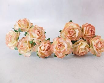 "1"" dual peach mulberry roses - paper flowers - peach paper roses"