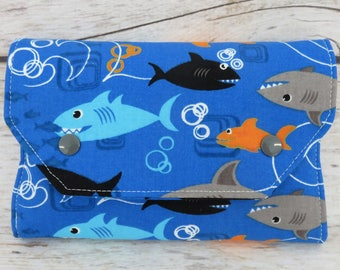 Fun Sharks Blue Fabric | Crayon Wallet Stowaway Take Along Holder  | Organizer | Keeper | Art Kit | Personalized Name Tag Applique Available