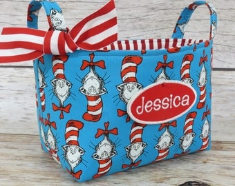 Storage Organization - Fabric Organizer Container Bin Basket Bag - Dr. Seuss Cat in the Hat Heads Fabric - Name Tag Applique Available