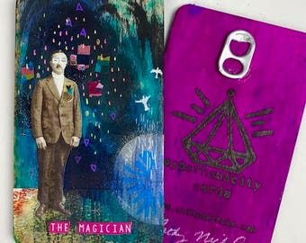 The Magician - Hand Painted Wooden Oracle Card