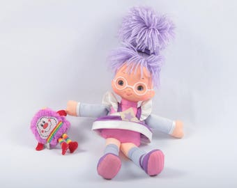 Rainbow Brite, Shy Violet With IQ Sprite, Vintage Doll, Purple Hair, Purple Dress, White Eyeglasses, Collectible ~ The Pink Room ~ SS006