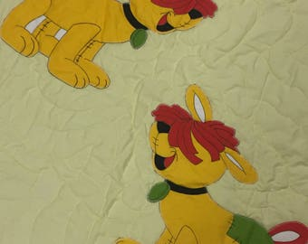 Vintage, Hand Made, Raggedy Anne, Dog, Quilt, Blanket, Yellow, Patches, Baby ~ The Pink Room ~ 170121