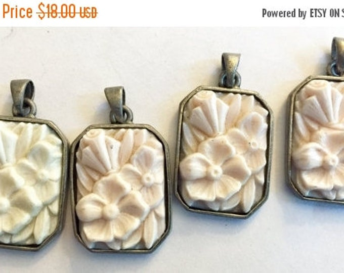 SALE 30% off 25 Percent off SALE Rare Antique pendant angel skin pink cream rectangle glass silver setting Czech etched floral carved shape