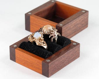 Wooden Ring Box, 2 large Ring Box, Walnut, Mahagony Ring Box, Ring Bearer Pillow Box