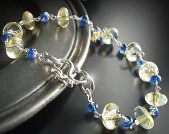 20% OFF - Simple, Elegant Lemon Quartz and Blue Sapphire Bracelet with a Sterling Silver Safety Clasp