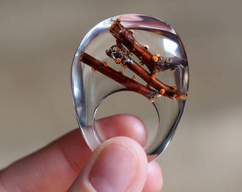 Tree Branch Clear Resin Ring, Woodland Jewelry, Forest Jewelry, Bold Jewelry, Statement Ring