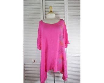 ON SALE Flare Tunic - Highlite Pink Cotton Gauze w/ Motif Art 1X Ready to Ship