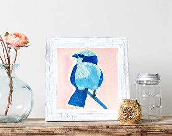 Printable Art Work Wall Decor Watercolor Blue Bird Print *DIGITAL DOWNLOAD*