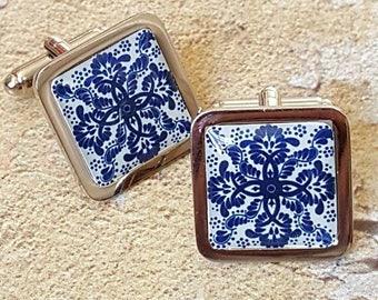 Cobalt Blue Tile Cufflinks