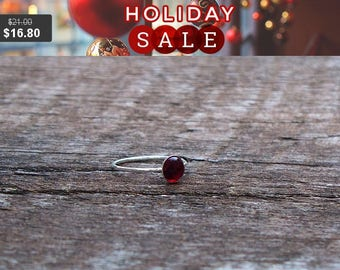 Recycled World War II Era Ruby Red Beer Bottle and Sterling Silver Stacking Ring/Vintage Repurposed/Handmade/Story of the Glass
