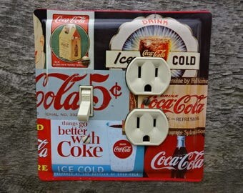 Coca Cola Decor Kitchen Diner Theme Lighting Light Switch Outlet Cover Combo Plate Made From An Old Coke Tin OLC-1158C-L