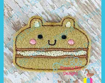Bear Macaroon Feltie Machine Embroidery Digital File