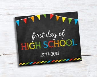 First Day of School Sign - Chalkboard Sign - High School - Photo Prop School Sign - 1st Day of High School Sign - Instant Download